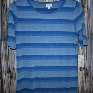 Lularoe Gigi L Blue Striped Shirt New